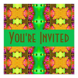 yellow green  fractal 5.25x5.25 square paper invitation card