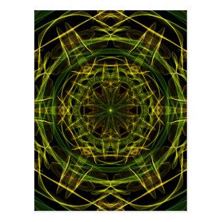 Yellow Green Fractal Postcard
