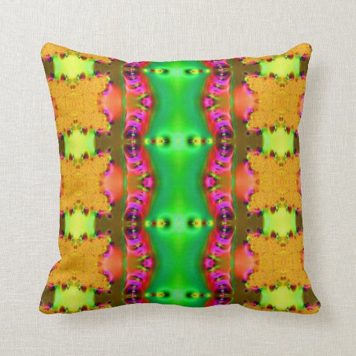 yellow green fractal ribbons pillow
