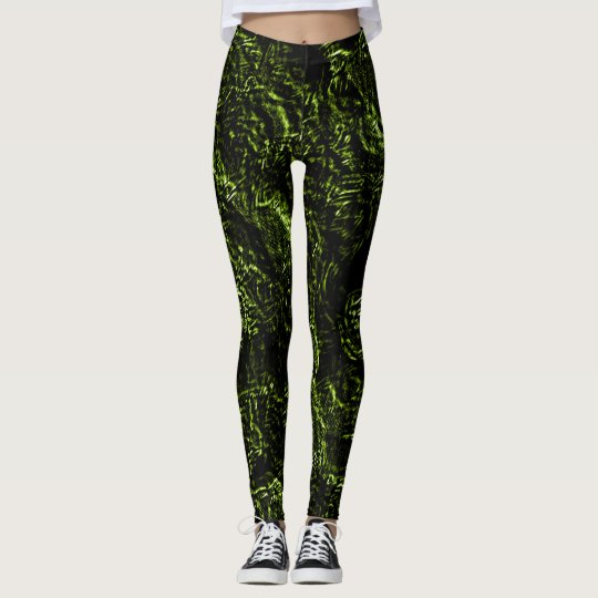 Yellow Green Goth Roses Leggings