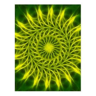 Yellow Green Kaleidoscope Art 1 Postcard