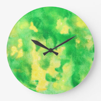 Yellow Green Large Round Wall Clock