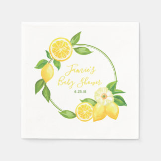 Yellow Green Lemon Citrus Floral Baby Shower Party Paper Napkin