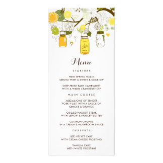 Yellow & Green Mason Jars Summer Wedding Menu Card
