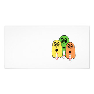 Yellow green orange ghosts with ties personalized photo card