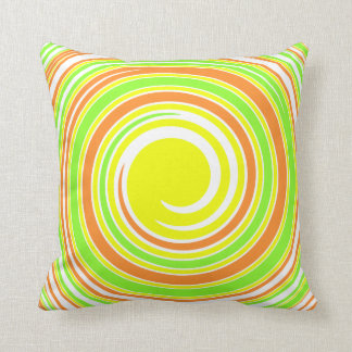 Yellow, Green, Orange Whirlpool Throw Pillow