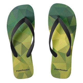 Yellow green pattern flip flops