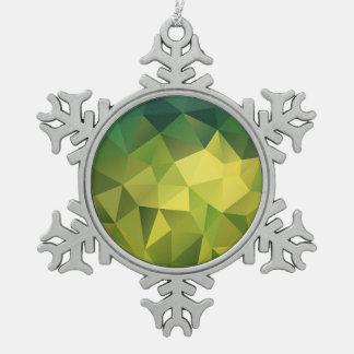 Yellow green pattern pewter snowflake ornament