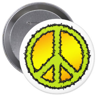 Yellow Green Peace Sign 4 Inch Round Button