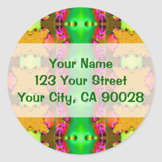yellow green pink classic round sticker