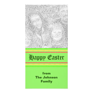 yellow green pink Happy Easter Photo Cards