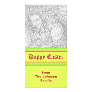 yellow green pink Happy Easter Photo Greeting Card