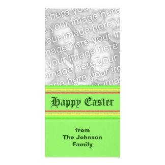 yellow green pink Happy Easter Custom Photo Card