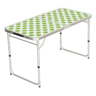 Yellow Green Polka Dots Beer Pong Table