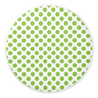 Yellow Green Polka Dots Ceramic Knob