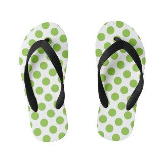 Yellow Green Polka Dots Kid's Flip Flops