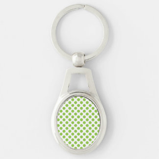 Yellow Green Polka Dots Silver-Colored Oval Keychain