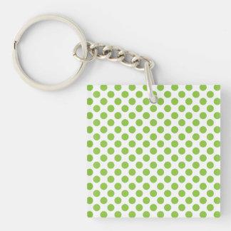 Yellow Green Polka Dots Single-Sided Square Acrylic Keychain