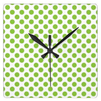 Yellow Green Polka Dots Square Wall Clock