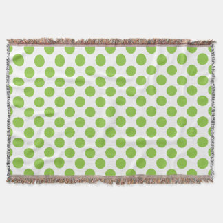 Yellow Green Polka Dots Throw Blanket