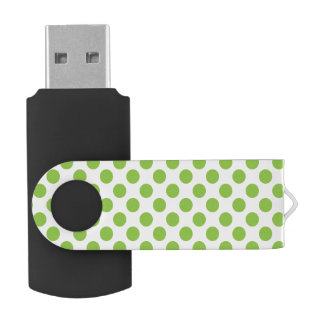 Yellow Green Polka Dots USB Flash Drive