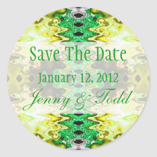 yellow green save the date round sticker