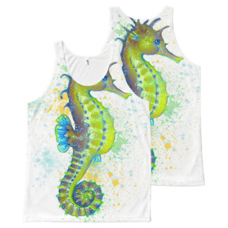 Yellow Green Seahorse splash All-Over-Print Tank Top