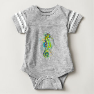 Yellow Green Seahorse splash Baby Bodysuit