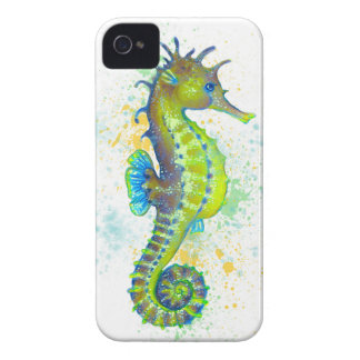 Yellow Green Seahorse splash iPhone 4 Case
