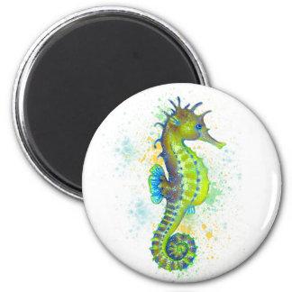Yellow Green Seahorse splash Magnet