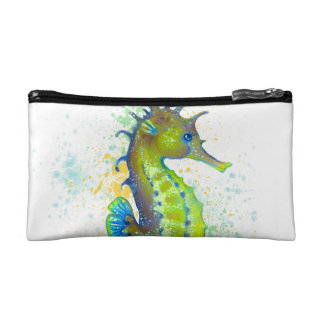 Yellow Green Seahorse splash Makeup Bag
