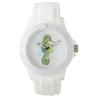 Yellow Green Seahorse splash Watch