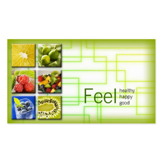 Yellow Green Square Healthy Life/Nutritionist Card Business Card