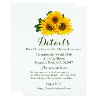 Yellow Green Sunflower Directions Details Wedding Card