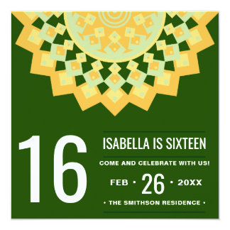 Yellow Green Sweet 16 Birthday Party Invitation
