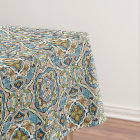 Yellow Green Teal Blue Orange Hip Orient Bali Art Tablecloth