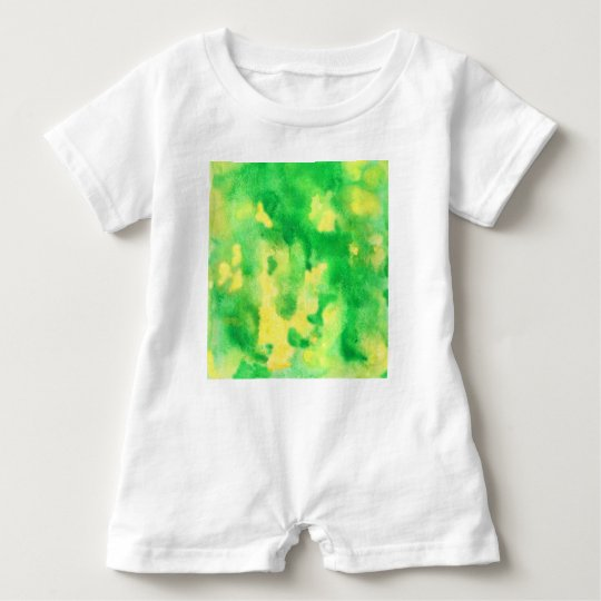 Yellow Green Watercolor Baby Romper