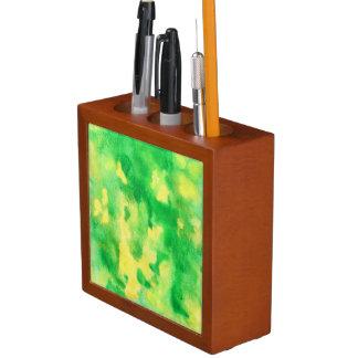 Yellow Green Watercolor Desk Organizer
