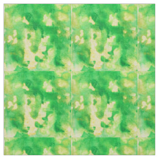 Yellow Green Watercolor Ivory Linen Fabric