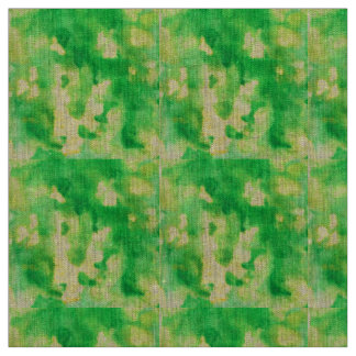 Yellow Green Watercolor Natural Linen Fabric