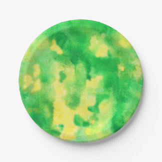 Yellow Green Watercolor Paper Plate 7'' 7 Inch Paper Plate