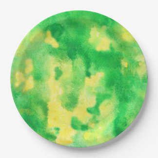 Yellow Green Watercolor Paper Plates 9''