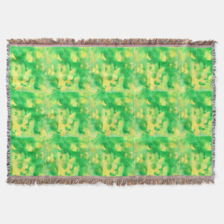 Yellow Green Watercolor Throw Blanket
