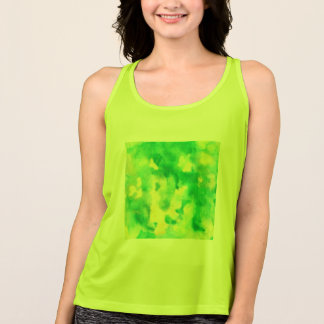 Yellow Green Watercolor Women's Sposrts Tank Top