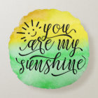 Yellow Green Watercolor You Are My Sunshine Pillow
