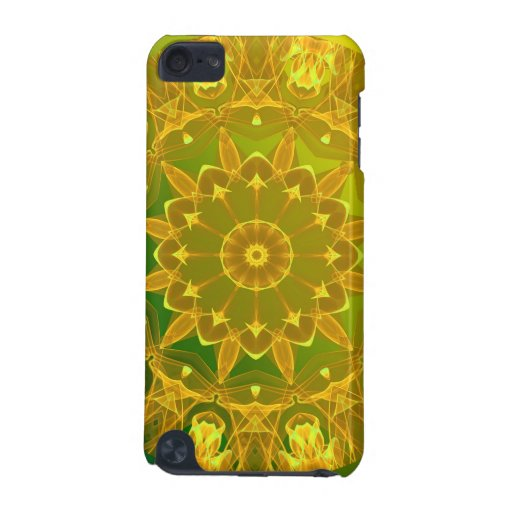 Yellow Green Wheel of Fire Mandala, Abstract Lace iPod Touch 5G Cases