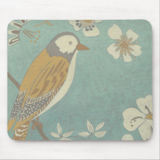 Yellow, Grey and Beige Bird Perched on a Branch Mouse Pad