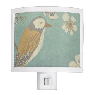 Yellow, Grey and Beige Bird Perched on a Branch Night Light