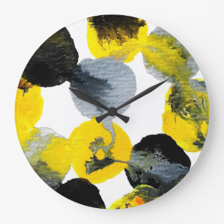 Yellow, Grey and Black Intertactions Large Clock