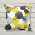 Yellow, Grey and Black Intertactions Pattern Throw Pillow